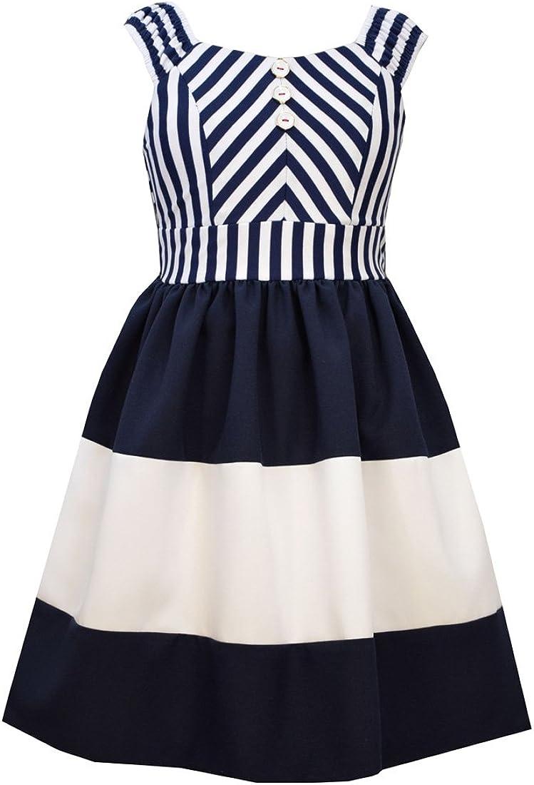 Bonnie Jean Girls' Little Mitered Stripe to Poplin Skirt Dress