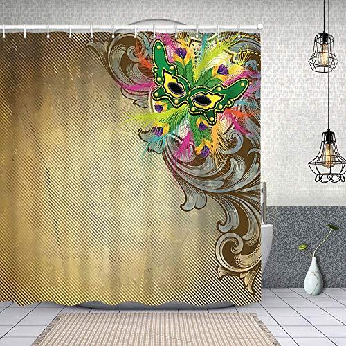 Duschvorhang wasserdicht Karneval rustikale Schriftrolle mit Haken, waschbare Bad Gardinen 72x72 inch