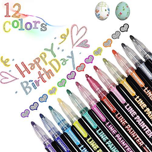 AhGuwa - Rotuladores Metalizados de 12 Colores, Bolígrafos Contorno Doble Línea, Rotuladores Marcadores Mágicos, Bolígrafos de Dibujo para Tarjeta de Felicitación
