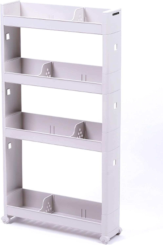 NadoNado ND-SS4T, 4-Tier Slim Storage Cart, Narrow Space Organizer for Kitchen, Bathroom and Laundry Room, BPA-Free Polypropylene, Gray, 5W x 20L x 37H inches of Rolling Shelf Rack