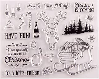 Christmas Deer Tree Letters Flower Santa Claus Heart Clear Rubber Stamps for Card Making Scrapbooking Christmas Valentine'...