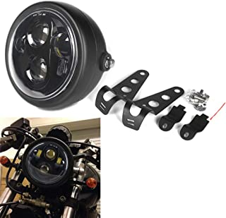 HOZAN Black 5-3/4 5.75inch LED Motorcycle Headlight with Headlight Housing for Honda Shadow Harley Suzuki Motorbikes Metric bikes Cruisers Choppers