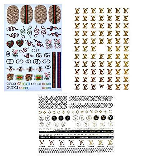 DESIGNER NAIL STICKERS 3PCS, POPULAR NAIL STICKERS, TRENDING NAIL STICKERS, LUXURY 3D NAIL STICKERS