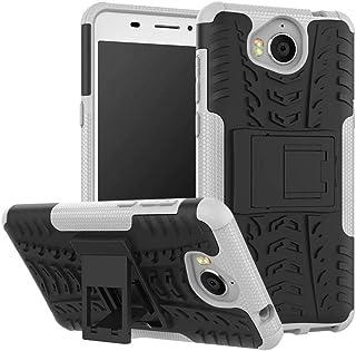 Jtailhne Kompatibel med Fodral Huawei Y6 2017, Heavy Duty StöTsäKer Fodral med SparkstäLl Skal PC TPU Hybrid Rugged Armor ...