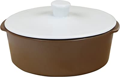 Eurita by Reston Lloyd Flame Safe Dutch Oven with Lid, 9-Cup, White/Mocha
