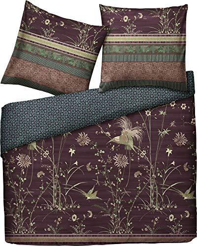 Bassetti Juego de cama reversible Paradise de satén fino, tamaño 200 x 200 cm (80 x 80 cm), color berenjena