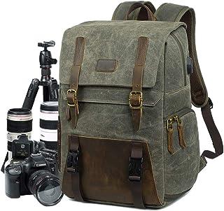 Kameraryggsäck DSLR kanvas kameraväska stor kapacitet vattentät anti-chock 15,6 tum bärbar dator SLR-kamera reseryggsäck p...