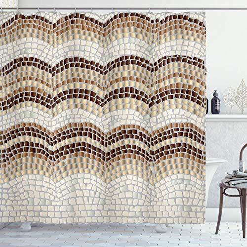 ABAKUHAUS Beige Cortina de Baño, Efecto Mosaico Antiguo, Material Resistente al Agua Durable Estampa Digital, 175 x 180 cm, Beige Tan Brown