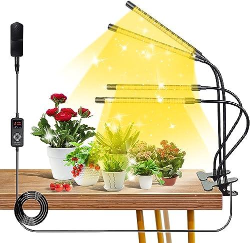 Full Spectrum LED Grow Light Upgraded 264 LED 4 Head Grow Lights for Indoor Plants with Full Spectrum & Red Blue Spectrum 9 Dimmable Level 3/6/9/12H Timer Adjustable Gooseneck 4 Switch Modes