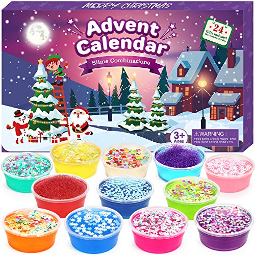 Elover Slime Advent Calendar 2020 for Girls Great Surprise Countdown to Christmas for Kids Teens