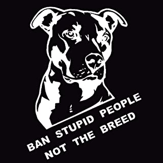 Car777 Car Decals Ban Stupid People Not Breed Pitbull Auto Car Styling Sticker Body Window Decal - White