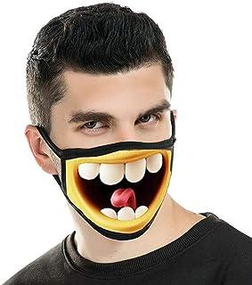 LOVINSHOW Funny Mask Washable Reusable Funny Face Mask Anti-Dust Cotton Mask for Men Women