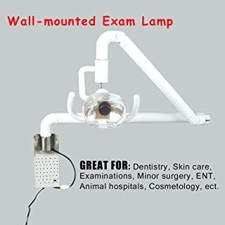 Dimmable Halogen LED Wall-Mounted Inspection Lamp – for Professional Use and Hobbies– Adjustable Lighted Surgical Medical Exam Light Cold Light Shadowless Halogen Lamps – 59in Arm White