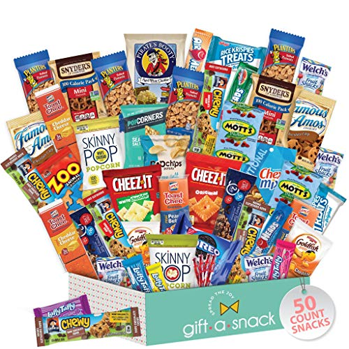 Snack Box Variety Pack (50 Count) Candy Gift Basket - College Student Care Package, Prime Food...