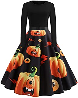 Halloween Vintage Dress for Women Long Sleeve 50s Housewife Evening Party Prom Dress