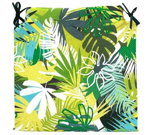 TIENDA EURASIA Pack de 4 Cojines para Sillas - Estampado Selva Tropical - 2 Cintas de Sujeción - Ideal para Interiores y Exteriores - 40 x 40 x 3 cm (Verde)