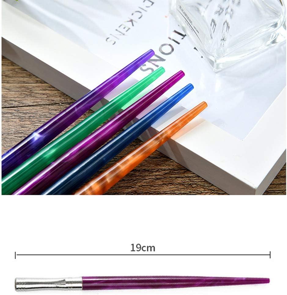 Ingl/és caligraf/ía sostenedor de la pluma punta oblicua con 5 puntas planas Hillento caligraf/ía resina soporte de punto Punta de bol/ígrafo azul