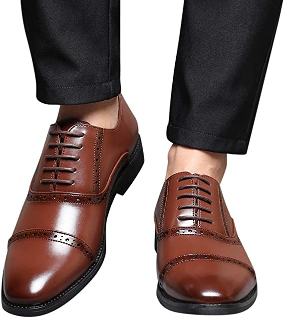 HYF Mens Genuine Leather Shoes Lace Up Breathable Business Low Top Lined Oxfords Driving Shoes Business Shoes for Men