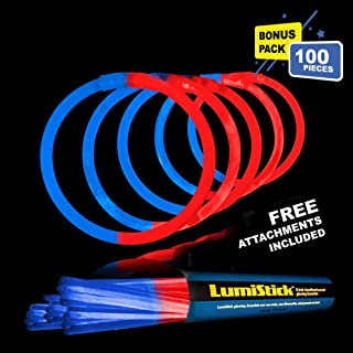 Lumistick 8 Inch Glow Sticks | 100 Pack Bulk Party Favors Bracelets | Light Sticks for Neon Party Glow Necklaces | Glow in The Dark Party Supplies for Kids or Adults (Blue/Red, 100 Glow Sticks)