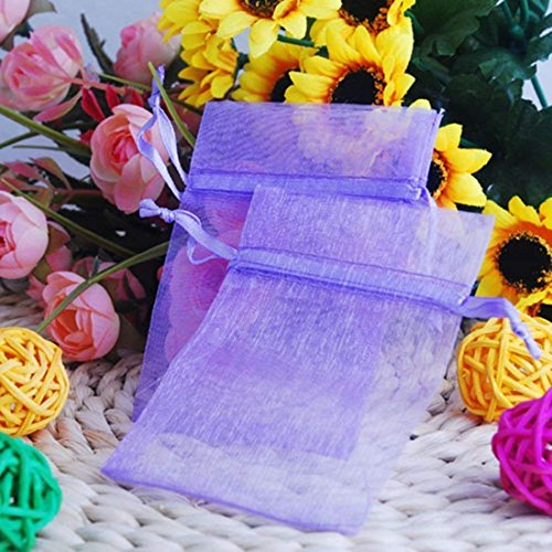Lyanther 100 pcs Violet Organza Cordon de Serrage Pouches Bijoux pour fête Cadeau de Mariage Sacs 5,8 x 7,6 cm