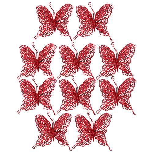 VALICLUD 10Pcs Natale Glitter Farfalla Ciondoli Fai da Te Mestiere Farfalla Clip Albero di Natale Festa Festival Capodanno Decorazioni Albero di Natale (Rosso)