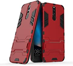 Case for Huawei Mate 10 Lite/Nova 2i / Honor 9i (5.9 inch) Shockproof with Kickstand Feature Hybrid Dual Layer Armor Defender Protective Cover (Red)