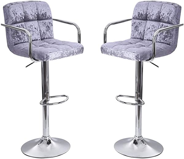 Bar Stools Kimanli Set Of 2 Flannel Adjustable Bar Stools Counter Height Swivel Stool By Leopard