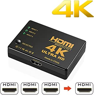NAMEO Mini 3 Ports Intelligent 4K HDMI Switch Box High Speed Audio/Video Switcher Splitter Support 1080p Compatible with 4...