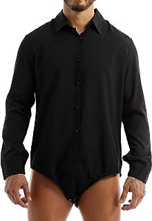 QinCiao Men's Formal Work Casual Bodysuit Slim Fit Long Sleeves Top One-Piece Leotard Jumpsuit