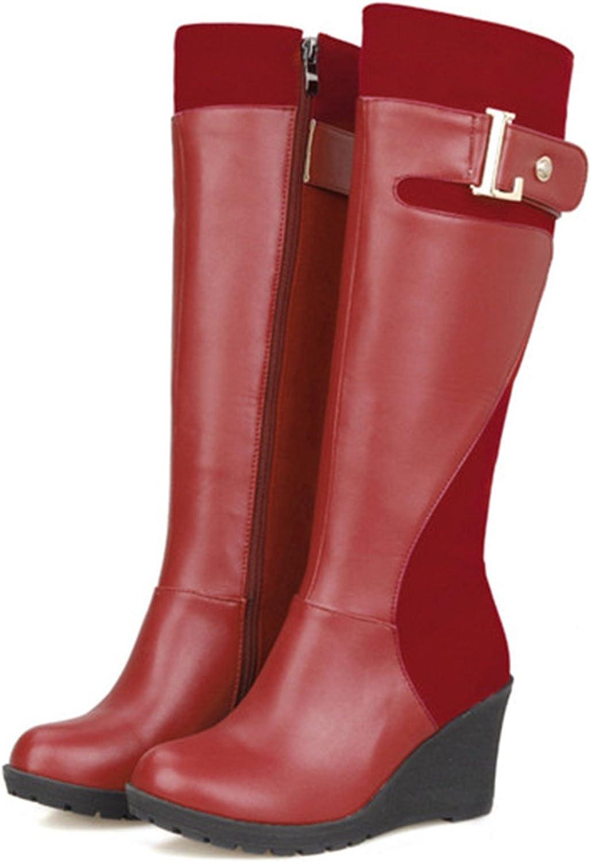 Kenavinca Women Knee High Boots Winter Platform Boots Wedge Heels Fur Buckle Snow Boots Round Toe Female shoes Red Big Size 11 46
