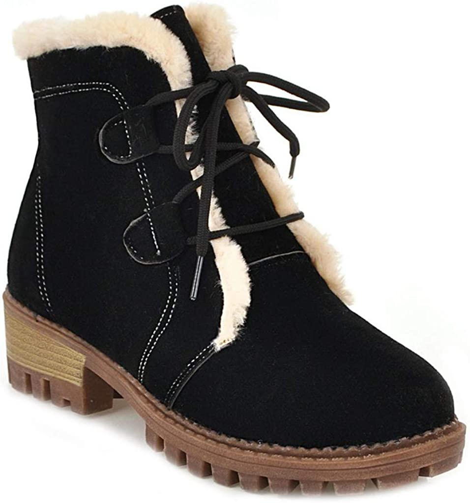 MIOKE 5 ☆ very popular Women's Winter Round Toe Fur Classic Pla Lace Ankle Suede Up Boots