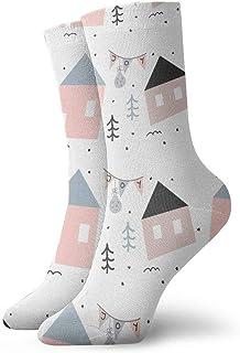 tyui7, Calcetines de compresión antideslizantes de patrón abstracto de casa de vacaciones Calcetines de 30 cm para hombres, mujeres y niños