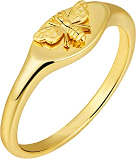 micuco 14K Gold Signet Rings for Women Bee Handmade Rings Dainty Flower Engraved Silver Statement Ring