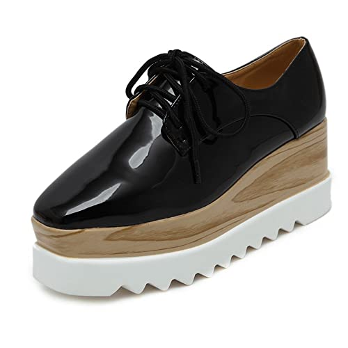 9caf3d569b7 TENGYUFLY Women s Platform Wedges Oxfords Classic Casual Lace Up Mid Heels  Wingtips Square Toe Shoes