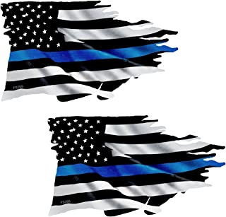 AZ House of Graphics Thin Blue Line Tattered Flag Sticker 2 Pack - #FS299