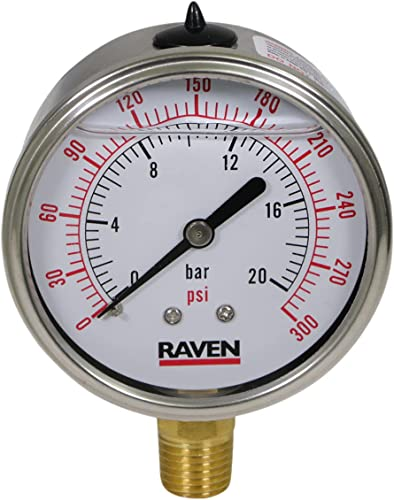 """2021 Supply Giant online sale 2.5"""" inch Dial Face, Stainless Steel, Liquid Filled Pressure Gauge, online for Oil, Gas, Water, and Air Pressure Testing, with a 1/4"""" NPT Lower Mount Brass Connection, 0-300 Psi sale"""