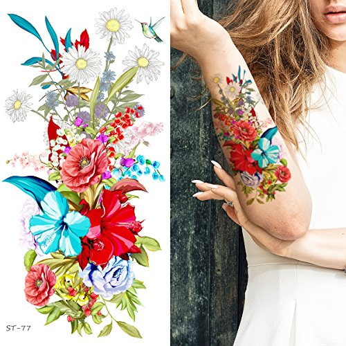 Supperb Temporary Tattoos - Hand drawn Colorful Summer Flower Bouquet II (Set of 2)