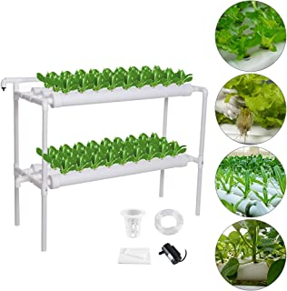 MorNon Hydroponic Site Grow Kit 54 Site 6 Pipe Hydroponic Growing System for Leafy Vegetables Lettuce Herb Celery Cabbage(Nest Basket Water Pump and Sponge Included)