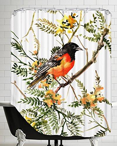 American Flat A108P005SHOW7174 Baltimore Oriole Shower Curtain by Suren Nersisyan, 71' x 74'