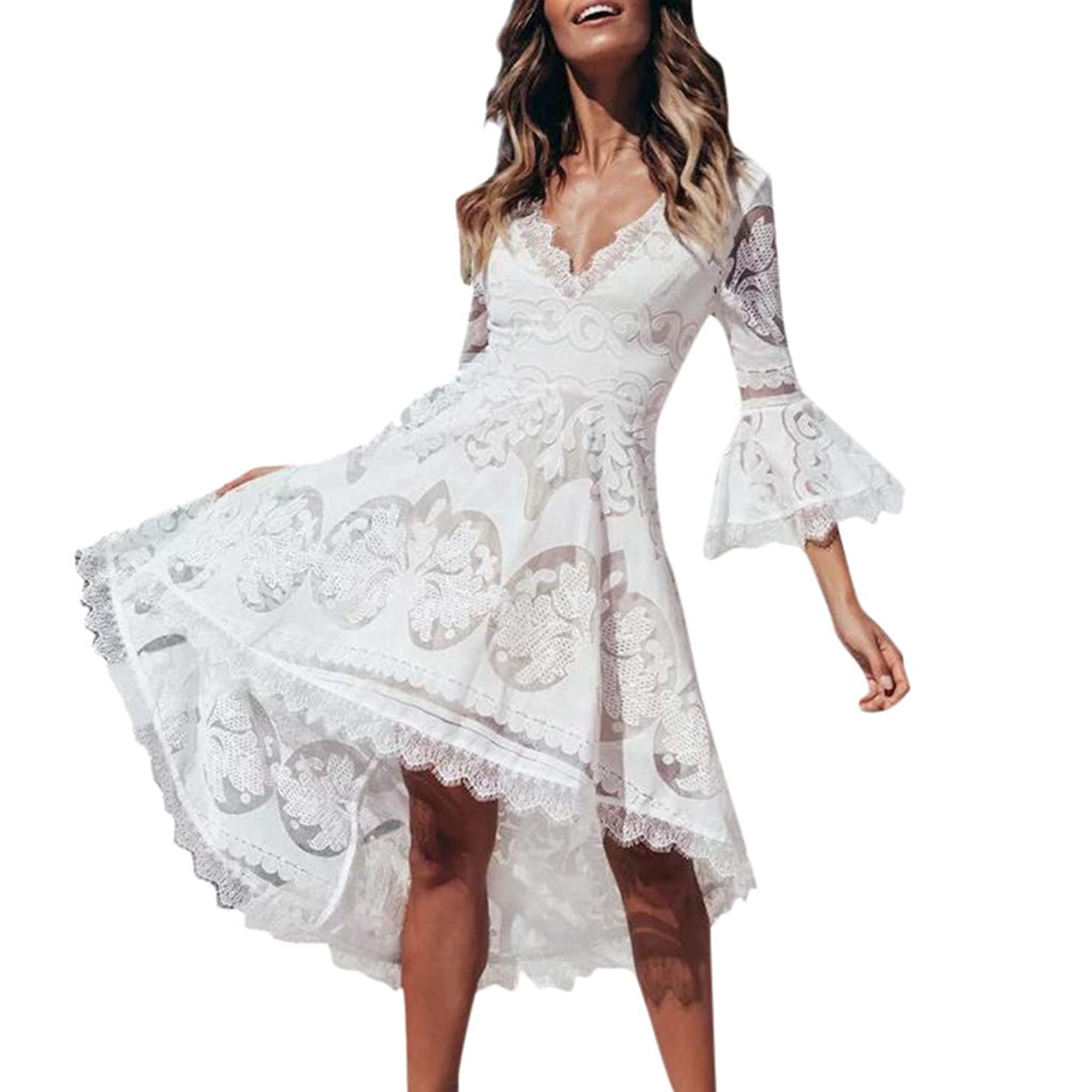 Caopixx Women Flare Sleeve V-Neck Hollow Out Patchwork Tuxedo Evening Party Holiday Lace Dress