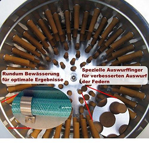 """Beeketal Geflügelrupfmaschine auf Rollen """"BRM1600"""" für Hühner und Enten, Nassrupfmaschine Kapazität: ca. 150 Gefügel pro Stunde mit 2-3 Tieren pro Durchgang (max. 5kg Gesamtbelastung oder 3 kg pro Tier) – Profi Rupfmaschine mit speziell geformten Rupffingern, integrierter Wasserspülung und Auswurfrutsche - 3"""