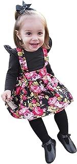 Para 0–18meses Outfits, janly Infant bebé niña recién nacidos Plain Pelele Tops Con Floral Strap vestido cinta negro ne...