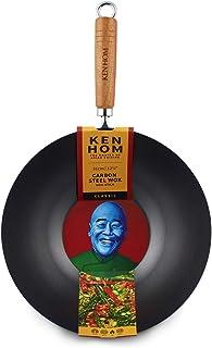 Ken Hom Classic KH331001 Wok en Acier Carbone avec Revêtement Antiadhésif, ø31 cm, Noir