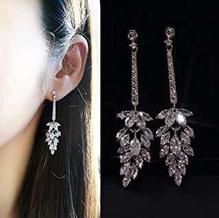 MAIHAO CZ Personality Wheat Earrings for Wedding Earrings for Bride Bridesmaids Crystal Cubic Zirconia Rhinestone Cluster Floral Leaf Earrings Elegant Bridal Jewelry for Women Girls