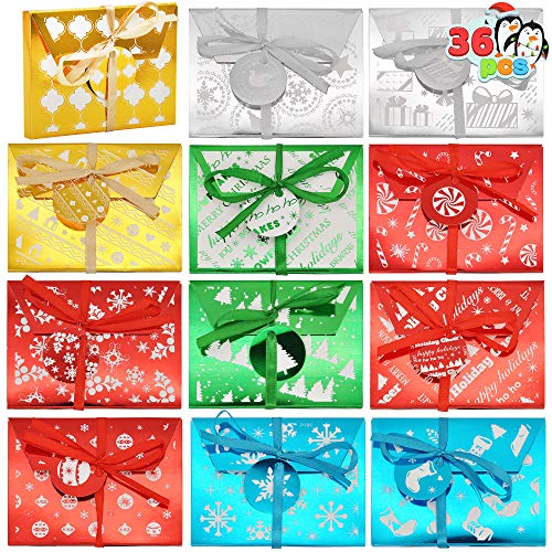 36 Christmas Gift Cards Box | Fancy Gift Foil Decorative Wrapped Envelope Card Boxes with Ribbon Holder (4.5' x 3.25' x 0.4') for Envelopes, Christmas Gift Decor