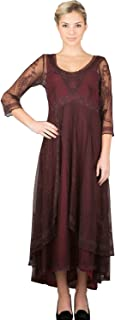 8929d9171667 Fenghuavip 3/4 Sleeve Burgundy Lace Bridal Mother Dress Hi-lo Maxi Length