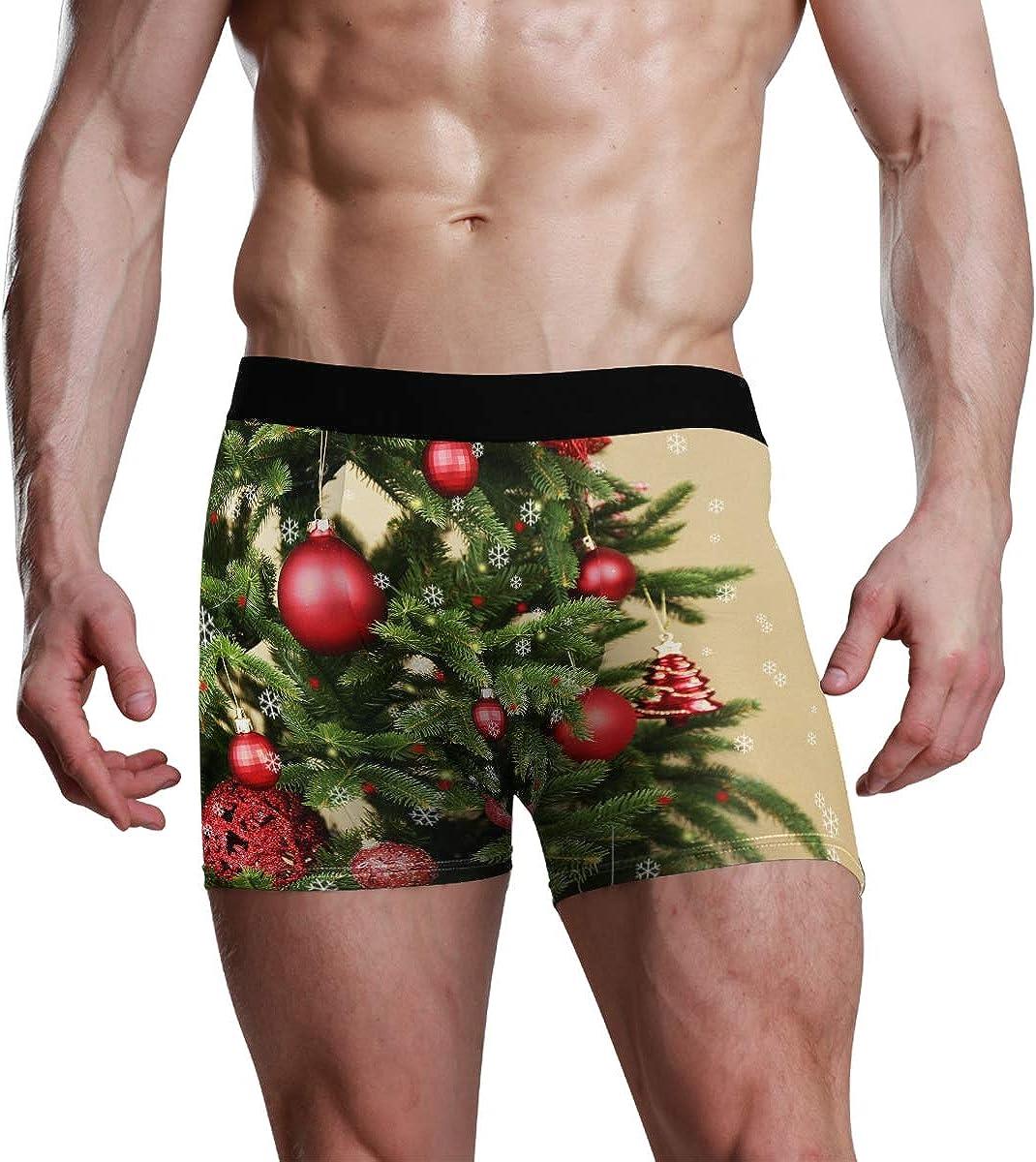 HangWang Mens Underwear Briefs Decorated Christmas Tree Closeup Breathable Long Boxer Briefs Underwear Boys