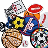 Miwind Lot de 12 écussons appliqués thermocollants Thèmes basket-ball/tennis/rugby/football pour jeans/vêtements/vestes/sacs/foulards enfants