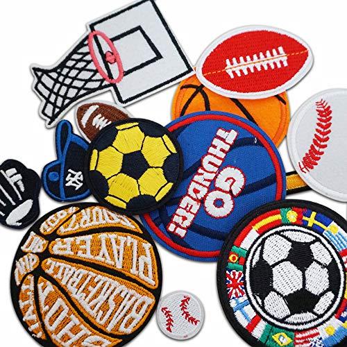 Parches de pelota de baloncesto/tenis/rugby/fútbol, parches para pegar con plancha para niños, vaqueros, camisetas, chaqueta, mochila, pañuelo, pegatinas para coser o pegar en tela, 12 unidades