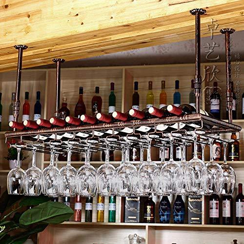 cyxb Estantería de Vino,Pinza de Vino Tinto, Adornos de Marco de Vino Tinto, Estante de Taza Colgante, Titular de Taza de Vino, Taza de Vino Colgando-Negro_80cm * 35cm